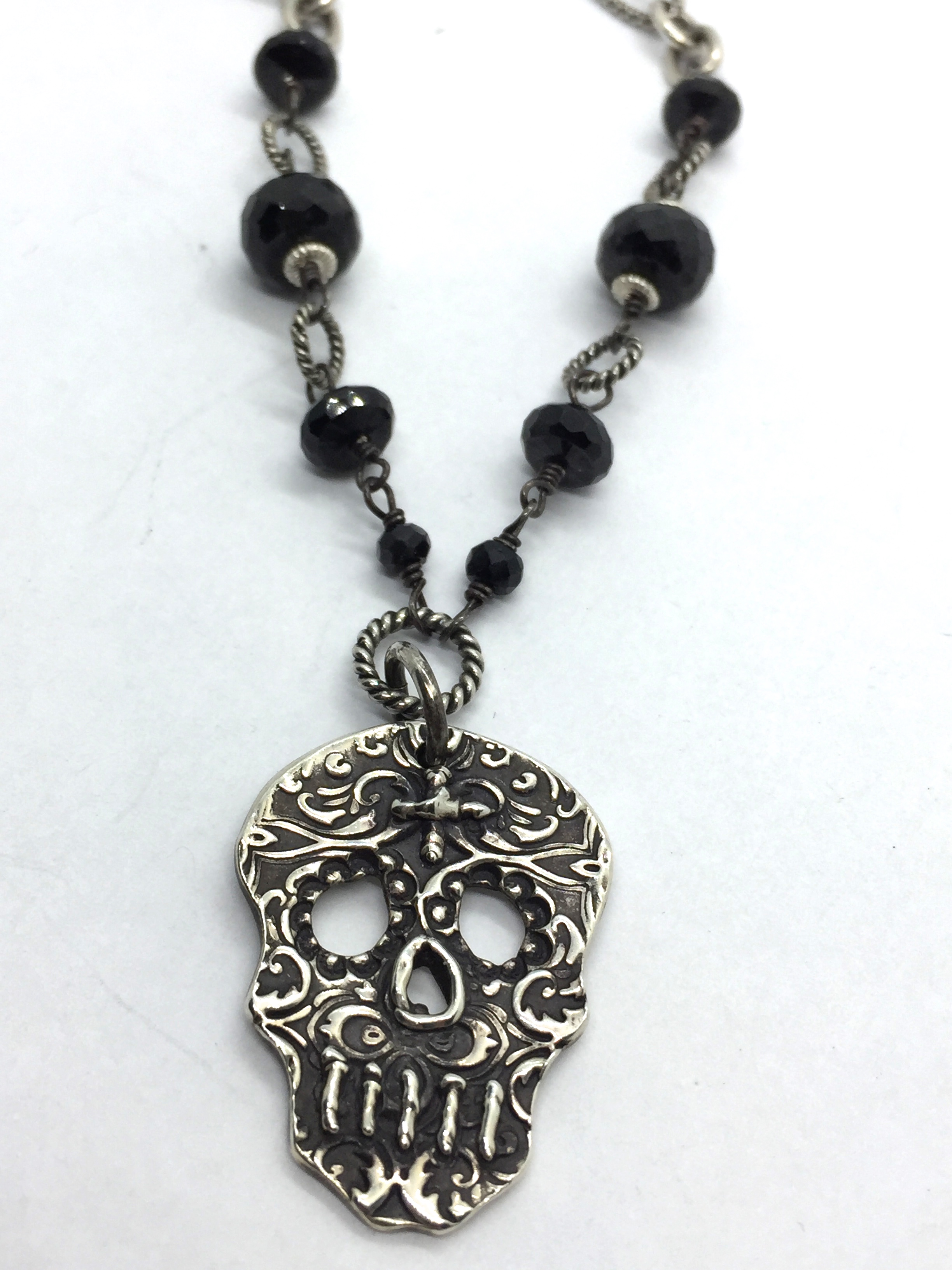 sugar necklace skull de black los sterling silver muertos dia spinel store
