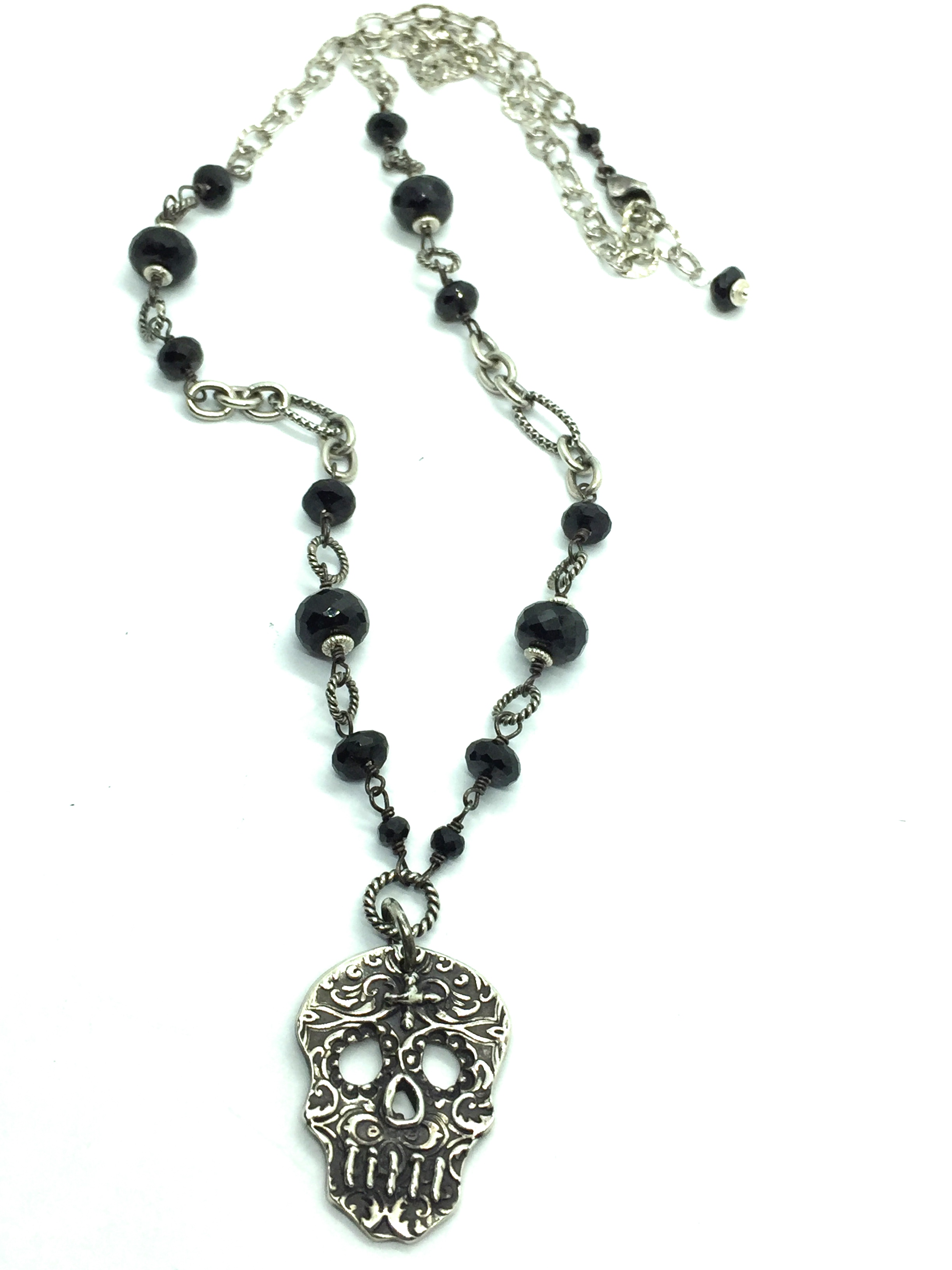 store muertos skull black los necklace spinel dia sugar de silver sterling